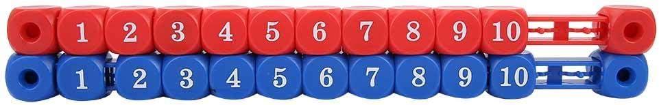 Qiter Mini Marcador, 2 Piezas Azul Rojo Mini multifunción Mesa Fútbol Juego de futbolín Unidad de puntuación de Billar Marcador