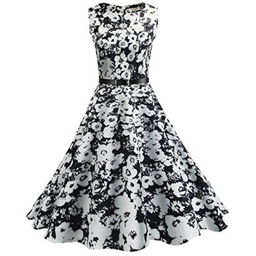 Women Dresses Godathe Summer Large Size Women Sleeveless Round Neck Retro White Print Dress S-2XL -