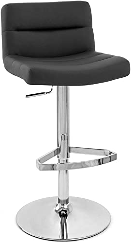 Zuri Furniture Black Lattice Adjustable Height Swivel Armless Bar Stool