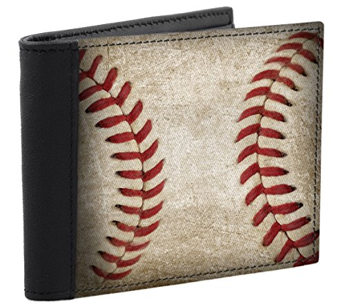 Baseball Accent - Baseball Stitch Design Men's Wallet Leather Accents