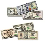 Six Packs of Best Real looking Play Money, Smaller Size 4.8'' x 2'', Pack of: $1, $5, $10, $20, $50, $100 bills, The #1 Seller For Education, Play, Fun, Props, Gifts