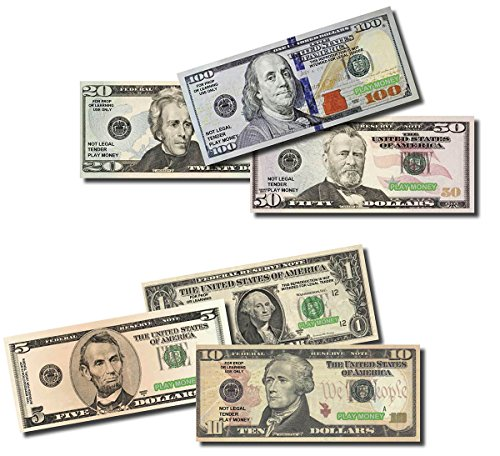 """Six Packs of Best Real looking Play Money, Smaller Size 4.8"""" x 2"""", Pack of: $1, $5, $10, $20, $50, $100 bills, The #1 Seller For Education, Play, Fun, Props, Gifts"""