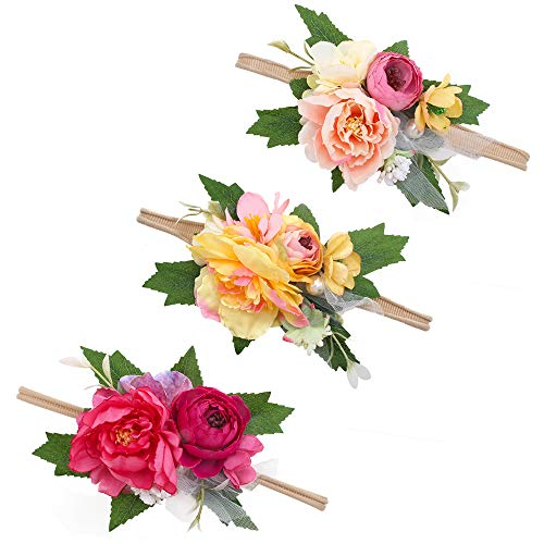 (mligril Baby Girl Floral Headbands Set - 3pcs Flower Crown Newborn Toddler Hair Accessories, Ivy Leaves,)