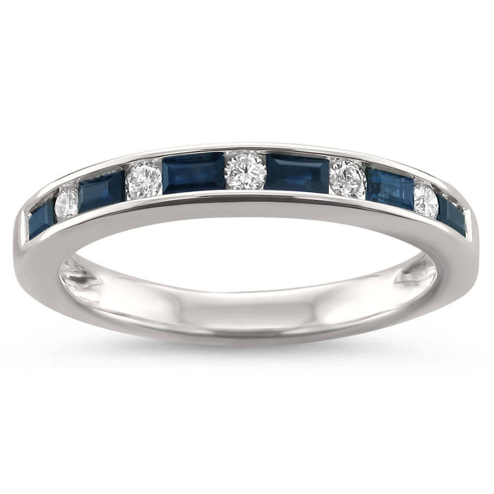 14k White Gold Baguette Blue Sapphire & Round Diamond Bridal Wedding Band Ring (1/2 cttw, H-I, SI2-I1), Size 7 by La4ve Diamonds