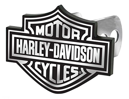 License Plate Shop Harley-Davidson Auto Hitch Plug Black & White Bar Shield -2287 by Plasticolor (Harley Davidson Hitch Cover)