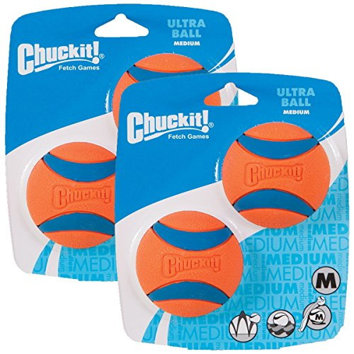 Chuckit Player - Chuckit Ball Ultra Ball Medium 4-Pack (2 x 2-Pack), Dog Fetch Toy