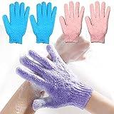 2 Pair Exfoliating Body Gloves Bath Loofah Skin Massage Sponge korean Towel
