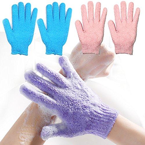 (2 Pair Exfoliating Body Gloves Bath Scrub Wash Mitts Skin Massage Sponge Towel Deep Cleansing Dead Skin Brush Scrub Luxury Spa Loofah (blueπnk))