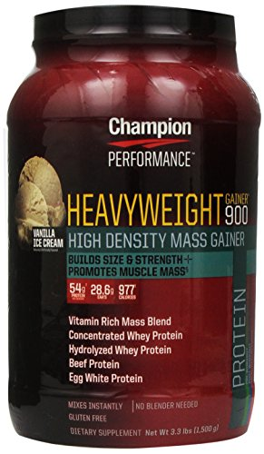 Champion Nutrition Heavyweight Gainer 900 Calorie High-Density Mass Gainer, Vanilla Ice Cream 3.3 Pounds