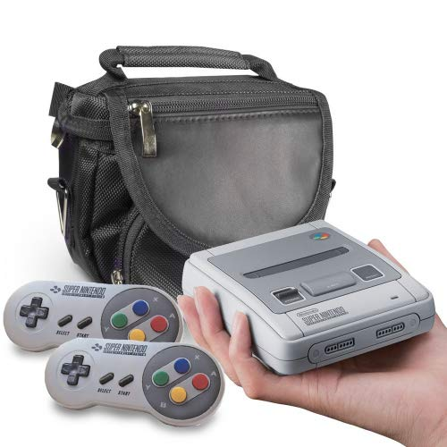 Orzly SNES Mini Travel Bag for Super Nintendo Mini Classic Edition (New 2017 Model Mini Version of Super NES) - Fits Console + Cable + 2 Controllers - Includes Shoulder Strap + Carry Handle - Black