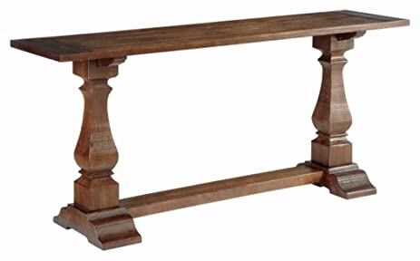 Bon Ashley Furniture Signature Design   Vennilux Console Table   Wire Brushed  Stain With Heavy Framed Top