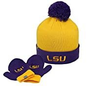 Infant Knit LSU Tigers Louisiana State Hat and Mittens Set