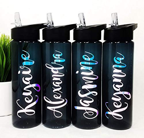 (Personalized Water Bottle, Sport Bottle, Plastic Sports Water Bottle with Name, Vinyl Decal, Kid Personalized Plastic Tumbler, Custom Water Bottle, Wedding Party Gift, Kid Friendly Water Bottle, Mag)