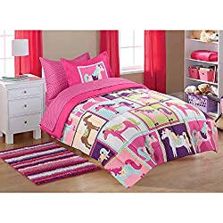 Mainstays Kids' 5-Piece TWIN Size Coordinated Bed in a Bag, Pink Horsey with Glade Room Spray Air Freshener