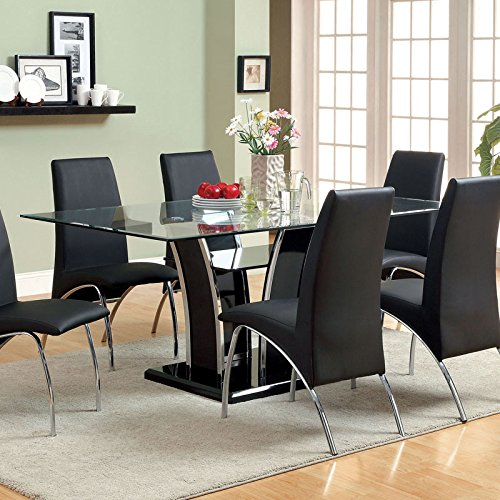 Glenview Contemporary Style Black Finish Glass Top 7-Piece Dining Table Set