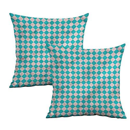 (Khaki home Geometrical Square Pillowcase Covers Retro Classical Tile Square Pillowcase Covers with Zipper Cushion Cases Pillowcases for Sofa Bedroom Car W 20