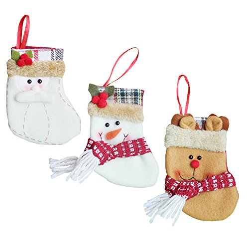3Pcs a Set - Christmas Decorations Personalized Fireplace Stockings Cute 3D Embroidery Hanging Xmas Tree Toys Gift Candy Ornaments Santa's Family Holder for Kids (13cm, Set of 3)