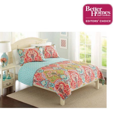 - Better Homes and Gardens Quilt Collection, Jeweled Damask Twin Size Bedding (Orange)