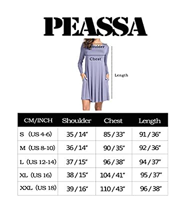 Peassa Women's Plain O Neck Pockets Loose Casual Swing T-shirt Dress