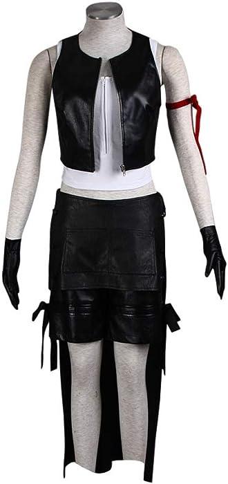 Mtxc Women s Final Fantasy VII Cosplay Costume Tifa Lockhart 1st Kid Size  Large Black 330b98b28c