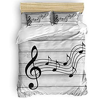 Image of All Like Music Bedding Sets Duvet Covers 4 Piece Set King Size Ultra Soft Microfiber Quilt Cover with Zipper Closure (1 Comforter Cover + 1 Flat Sheet + 2 Pillow Shams)- Drifting Black Musical Notes Home and Kitchen