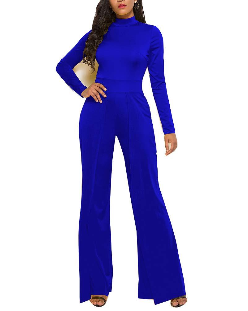 Guiran Tuta per Donna Manica Lunga Elegante da Cerimonia Pantaloni Larghi Vita Alta Jumpsuit