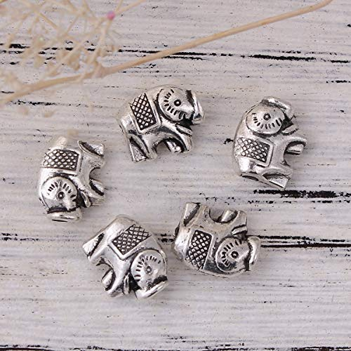"""PEPPERLONELY 50pc Antiqued Silver Alloy Metal Elephant Animal Charms Pendants 11mm x9mm(3/8"""" x 3/8"""")"""