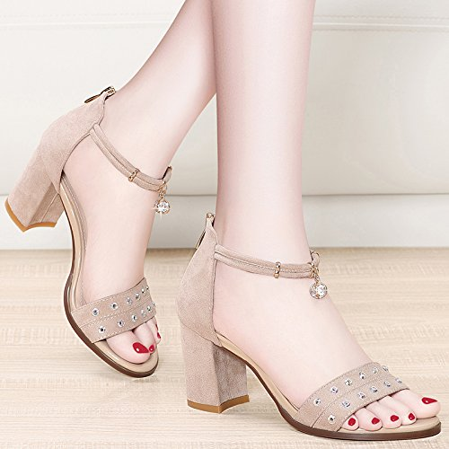 Fish New 2018 Word High Wild Sandals Shoes And Women'S Buckle Beige High Spring Summer Summer Jqdyl Open With Fine Head heels Toe xnwqgE84
