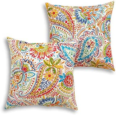 South Pine Porch AM4803S2-JAMBOREE Jamboree Paisley Outdoor 17-inch Square Accent Pillow, Set