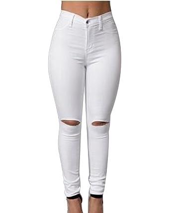 Cintura Alta Pantalones Rotos En La Rodilla Jeans Mujer ...
