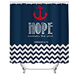 Anchor Shower Curtain Cheerhunting Nautical Anchor Shower Curtain, Red Anchor with Bible Line, Shower Curtain with Hooks, 72