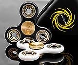 SPINZER Fidget Spinner with Premium High Speed Si3N4 Ceramic Bearing, Brass Center Caps, Zipper Case - White & Gold