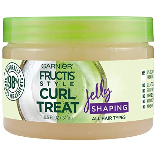 (Garnier Fructis Style Curl Treat Shaping Jelly with Coconut Oil for Curly Hair, 10.5 Fl Oz)