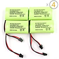 iClover 4PCS Cordless Home Phone NiCd Rechargable and Replacement Battery 2.4V 700mAh for BT-1015