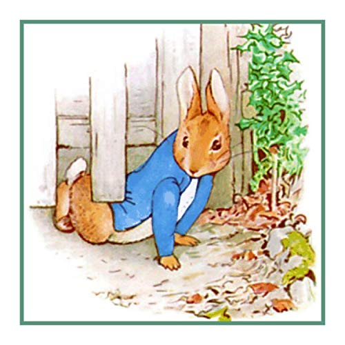 Rabbit Cross Peter Pattern Stitch (Peter Rabbit Crawls Under Fence Inspired by Beatrix Potter Counted Cross Stitch Pattern)