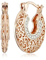 Rose Gold and Rhodium Plated Sterling Silver Two Tone Diamond Filigree Hoop Earrings (1/10cttw, I-J Color, I2-I3 Clarity)