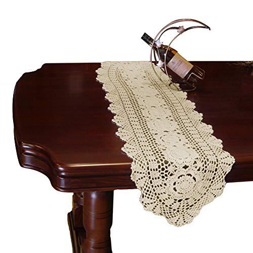 yazi Crochet Floral Table Runner Beige Handmade Rustic Floral Pattern Table Doilies 11.8