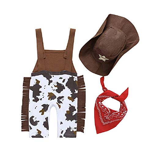 Toddler Kids Baby Boy Cowboy Suspenders Brown Camouflage Tassels Coverall Romper with Hat Handkerchief Outfit Sets (Brown,6-12 Months) ()