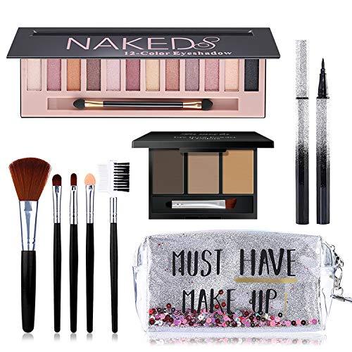 All in One Makeup Kit, Includes 12 Colors Naked Eyeshadow Palette, 5Pcs Makeup Brushes, Waterproof Eyeliner Pencils…