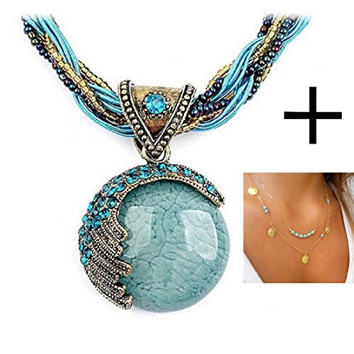 Shensee Female New Vogue DIY Gold Double Turquoise Sequins Pendant Chain Statement Necklace