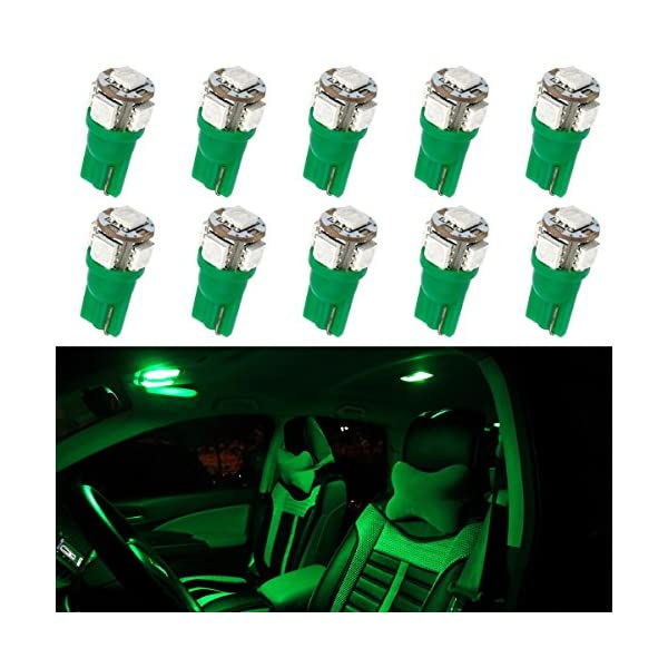 Partsam 1 Set (10pcs) LED Bulbs Car Interior Dome Map Lights 5 5050 SMD 12V T10 Wedge 194 168 W5W 158 2825