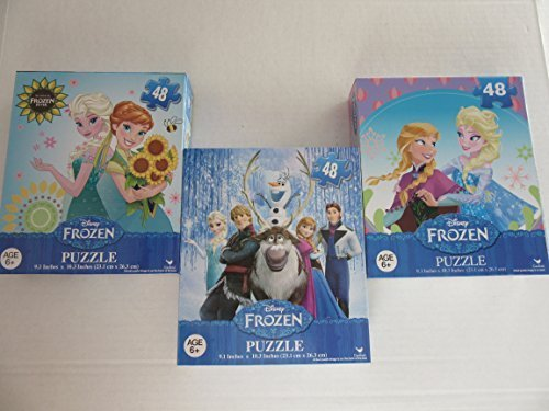 Frozen Jigsaw Puzzles 3 Pack 48-50 Pieces Per Box Children Games Toys Parties Gifts (Boxes May Vary)