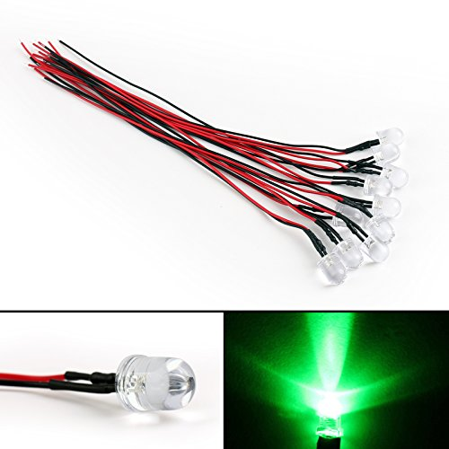 Areyourshop 10x DC 9-12V Pre Wired 20cm 10mm LED Green Water Clear Lamp Light Emitting Diode from Areyourshop
