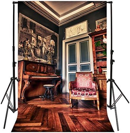 GoEoo 5x7ft Living Room Mural Painting Backdrop European Sofa Retro Wood Piano Bookshelf Gloomy Wood Floor Interior Photography Background Kids Adults Photo Studio Props