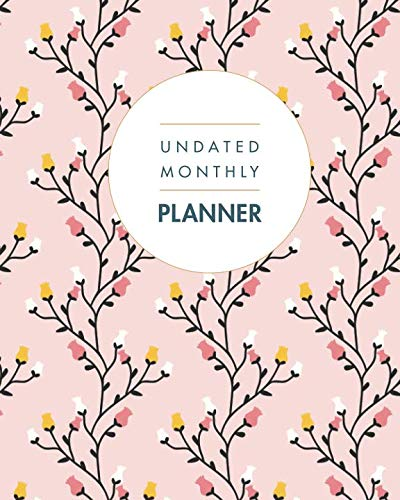 (Undated Monthly Planner: 24 Month Grid Overview, Calendar 2 Years Floral Design (Size: Large 8 x 10 Undated))