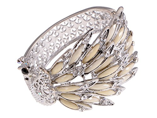 (Alilang Womens Silvery Tone Peacock Bracelet Bangle with Creamy Crystal Gems)