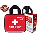 First Aid Kit in Red Fabric Bag with Reflective Strip (104 Pieces) for emergency and survival situations. Ideal for the Car, Camping, Hiking, Travel, Office, Sports, Pets, Hunting, Home