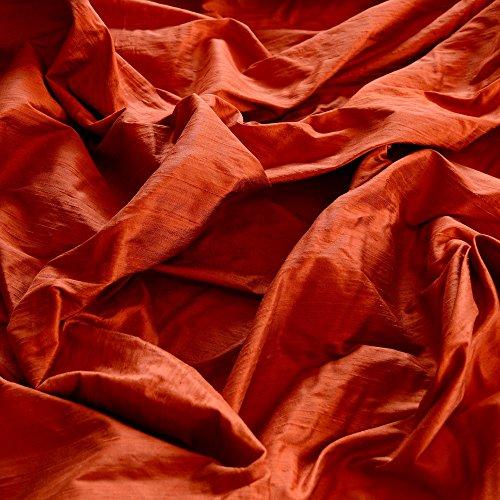 Iridescent Burnt Orange Dupioni Silk, 100% Silk Fabric, By The Yard, 54