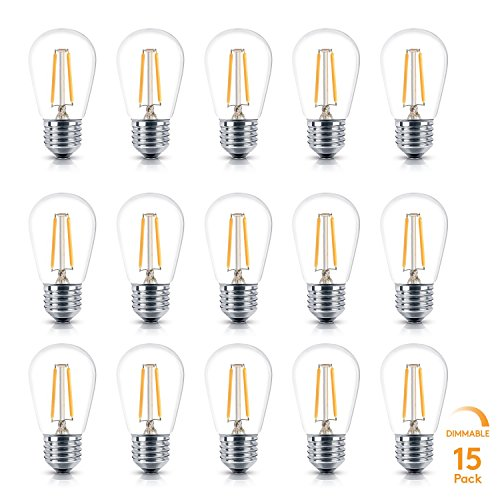 (Brightech Ambience PRO LED S14 2 Watt Warm White 2700K Dimmable Bulb - Equal To 20-25W Incandescent Bulbs - Outdoor String Lights – Edison-inspired Exposed Filaments Design- 15 Pack - E26 Base)