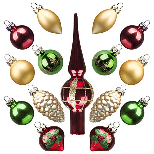 (KINGYEE Miniature Ornaments and Tree Topper Christmas Mini Glass Tree Decorations Set of 15 for Tabletop Desktop Tree Wedding Centerpiece (Red Gold Green))